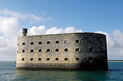 France, La Rochelle, 9 October 2009: Fort Boyard is a fort located between the &Icirc;le-d'Aix and the &Icirc;le d'Ol&eacute;ron in the Pertuis d'Antioche straits, on the west coast of France. It is 61 metres long, 31 metres wide, and its walls are 20 metres high.<br />