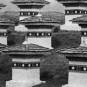 Close-up of the 108 Druk Wangyal Chortens at Dochula Pass, Bhutan