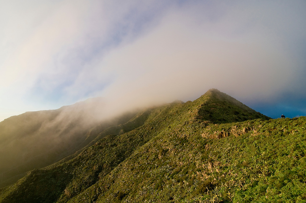 Clouds moving over a rim of the mountains near Masca, Teneriffa, Canary islands,Spain