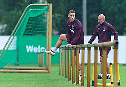 25.07.2017, Trainingsplatz TuS Bothel, Bothel, GER, Trainingslager, West Ham United, im Bild Marco Arnautovic steigt &uuml;ber ein Gel&auml;nder // during a trainingsession at the trainingscamp of the English Premier League Football Club West Ham United at the Trainingsplatz TuS Bothel in Bothel, Germany on 2017/07/25. EXPA Pictures &copy; 2017, PhotoCredit: EXPA/ Andreas Gumz<br /> <br /> *****ATTENTION - OUT of GER*****