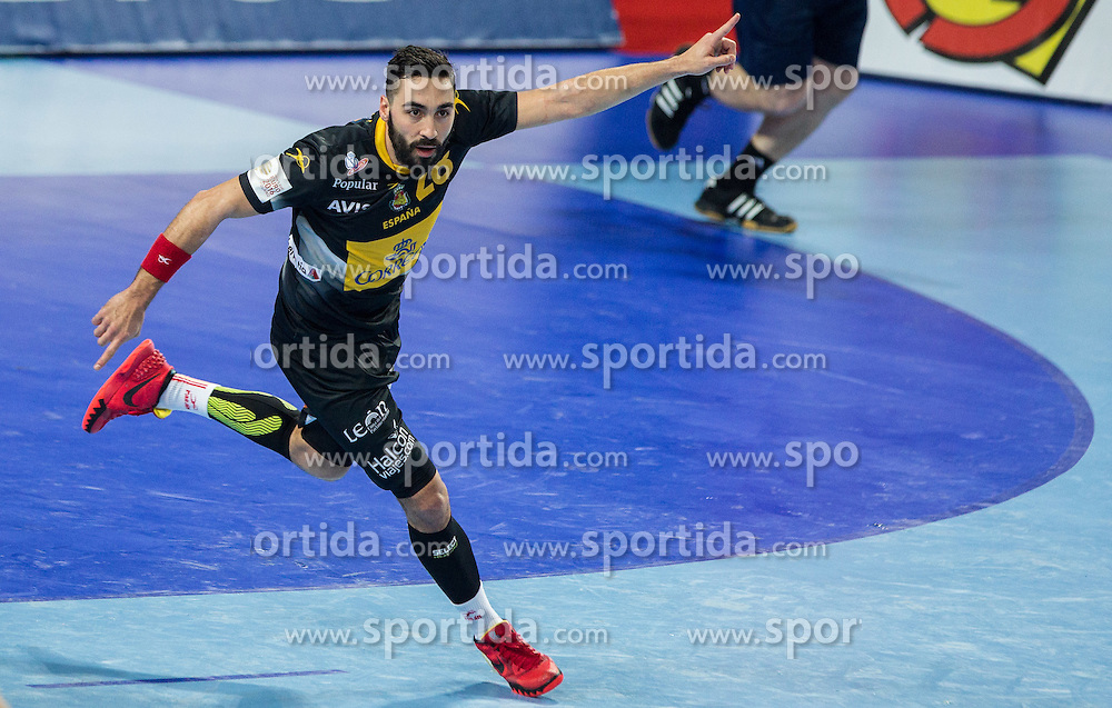 Valero Rivera of Spain during handball match between National teams of Spain and Sweden on Day 6 in Preliminary Round of Men's EHF EURO 2016, on January 20, 2016 in Centennial Hall, Wroclaw, Poland. Photo by Vid Ponikvar / Sportida