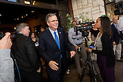 Former Florida Governor and potential Republican presidential candidate Jeb Bush departs from an early morning GOP breakfast event March 18, 2015 in Myrtle Beach, South Carolina.
