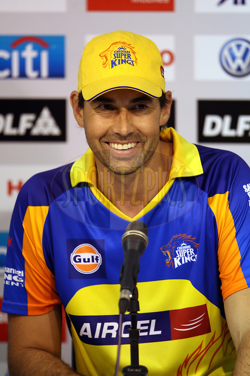 Stephen Fleming during the press conference after the practice session of the Chennai Super Kings held at the MA Chidambaram Stadium in Chennai, Tamil Nadu, India on 18 April 2012...Photo by Jacques Rossouw/BCCI/SPORTZPICS .