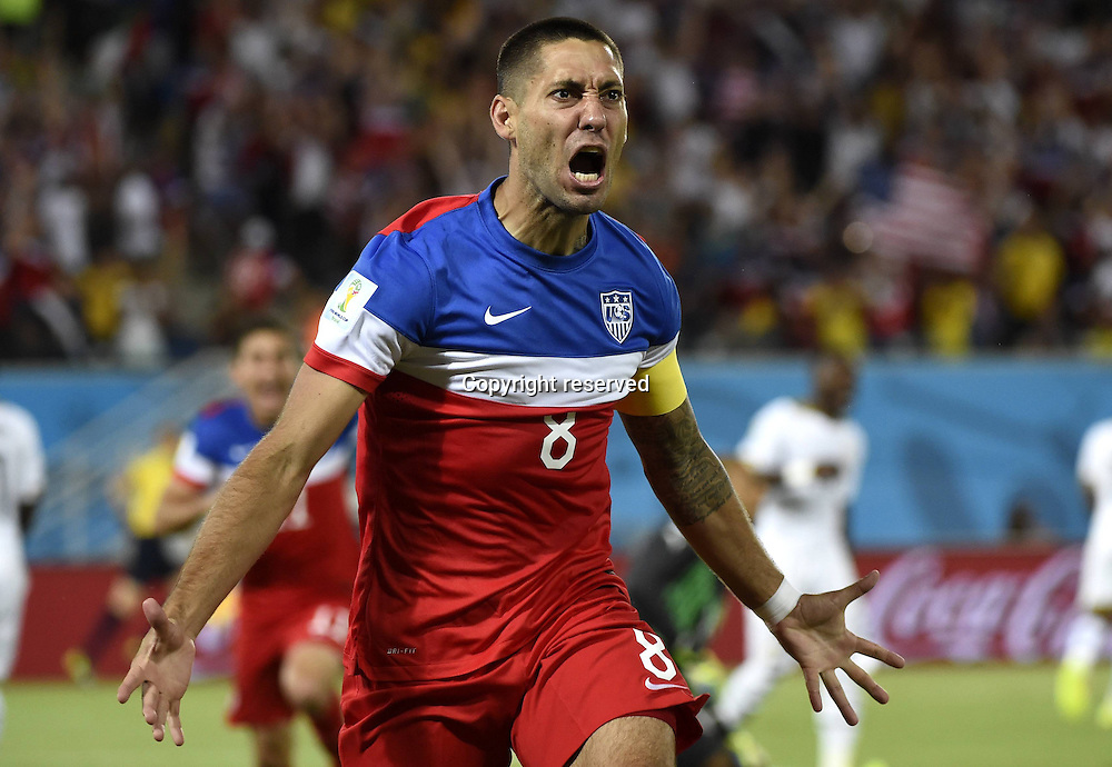 16.06.2014. Natal, Brazil.  Clint Dempsey of U.S. celebrates his goal during a Group G match between Ghana and U.S. of 2014 FIFA World Cup at the Estadio das Dunas Stadium in Natal, Brazil, June 16, 2014.