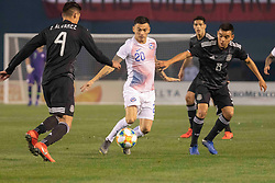 March 22, 2019 - San Diego, CA, U.S. - SAN DIEGO, CA - MARCH 22: Chile midfielder Charles Ar‡nguiz (20) is defended by Mexico defender Edson çlvarez (4) and Mexico midfielder Carlos Rodriguez (8) during the International match between the Mexico National Team and Chile on March 22, 2019 at SDCCU Stadium in San Diego, CA.(Photo by Alan Smith/Icon Sportswire) (Credit Image: © Alan Smith/Icon SMI via ZUMA Press)