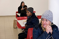 Rome, Italy. 31rd December 2015.<br /> Migrants detained in the Center for Identification and Expulsion (CIE)  to Ponte Galeria in Rome. Currently in the Center for Identification and Expulsion are held 40 women,half of them Nigerian women. Migrants in the refectory for lunch.