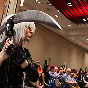 Samantha Stearns,15, stands in line dressed as Undertaker Sunday December 7, 2014 during Aniwave 2014 at the Wilmington Convention Center in Wilmington, N.C. (Jason A. Frizzelle)