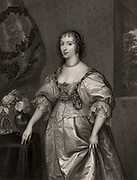 Henrietta Maria (1609-1669), Queen Consort of Charles I of Britain. Daughter of Henry IV of France and Marie de Medici. Engraving after the portrait by Anthony Vandyke.