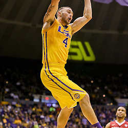 Jan 16, 2016; Baton Rouge, LA, USA; LSU Tigers guard Keith Hornsby (4) dunks against the Arkansas Razorbacks during the first half of a game at the Pete Maravich Assembly Center. Mandatory Credit: Derick E. Hingle-USA TODAY Sports