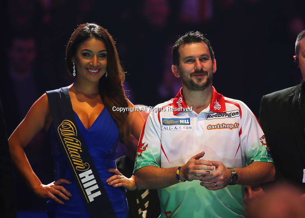 23.12.2016. Alexandra Palace, London, England. William Hill PDC World Darts Championship. Jonny Clayton prepares to make the walk to the Oche, for the start of his match with Ian White