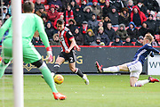 George Baldock of Sheffield United (2) crosses the ball during the EFL Sky Bet Championship match between Sheffield United and Nottingham Forest at Bramall Lane, Sheffield, England on 17 March 2018. Picture by Mick Haynes.