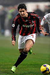 Alexandre Pato attacks during the Serie A match against Fiorentina on January 17, 2009 at San Siro Stadium in Milan. AC Milan defeated Fiorentina 1-0.