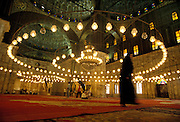 Egypt, Cairo 2000 - Interior of the Muhammad Ali Mosque on the citadel in Cairo
