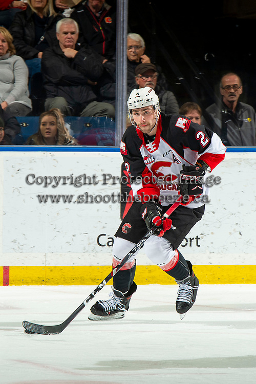 KELOWNA, BC - NOVEMBER 30:  Cole Moberg #2 of the Prince George Cougars skates with the puck against the Kelowna Rockets at Prospera Place on November 30, 2019 in Kelowna, Canada. Moberg was selected in the 2019 NHL entry draft by the Chicago Blackhawks. (Photo by Marissa Baecker/Shoot the Breeze)
