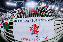 GB Supporters during ice-hockey match between Great Britain and Slovenia at IIHF World Championship DIV. I Group A Slovenia 2012, on April 15, 2012 in Arena Stozice, Ljubljana, Slovenia. (Photo by Vid Ponikvar / Sportida.com)