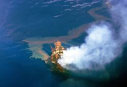 The West Atlas (Montara) platform on fire two days after the accident in the Timor Sea.