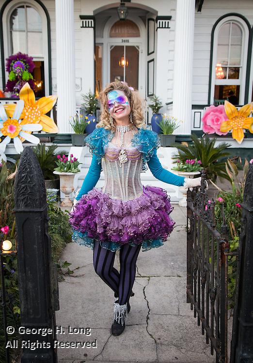 Stacy Hoover outside her home, Wonderland, on Royal at Desire