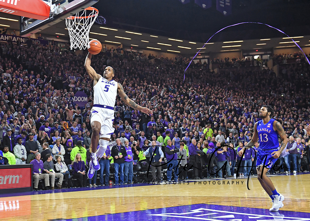 MANHATTAN, KS - FEBRUARY 05:  Barry Brown Jr. #5 of the Kansas State Wildcats drives for a dunk for the final basket of the game against the Kansas Jayhawks on February 5, 2019 at Bramlage Coliseum in Manhattan, Kansas.  (Photo by Peter G. Aiken/Getty Images) *** Local Caption *** Barry Brown Jr.