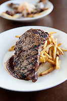 Rib Eye Steak with Frites photographed at The Block Restaurant in St. Louis, Missouri.