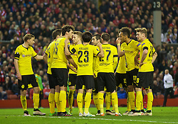 LIVERPOOL, ENGLAND - Thursday, April 14, 2016: Borussia Dortmund players have a frantic team-talk as they are bombarded by Liverpool in the second half during the UEFA Europa League Quarter-Final 2nd Leg match at Anfield. (Pic by David Rawcliffe/Propaganda)