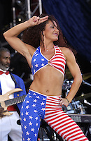 James Brown's Dancer at the United We Stand: What More Can I Give? Concert a music benefit in the Nation's Capital to raise money in support of the recovery efforts from the September 11th attacks on America. The proceeds will go to various relief funds.  October 21, 2001 (Photo: Jeff Snyder)