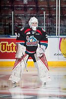 KELOWNA, CANADA - SEPTEMBER 28: Brodan Salmond #31 of Kelowna Rockets warms up against the Prince George Cougars on September 28, 2016 at Prospera Place in Kelowna, British Columbia, Canada.  (Photo by Marissa Baecker/Shoot the Breeze)  *** Local Caption *** Brodan Salmond;