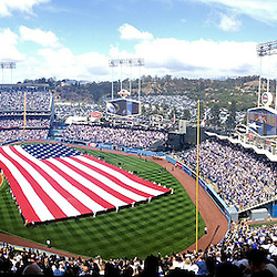 Los Angeles Dodgers opening day festivities prior to their baseball game against the San Francisco Giants on Monday, April 1, 2013 in Los Angeles.