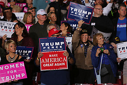 October 27, 2016 - Toledo, Ohio, United States - Supporters cheer and hold signs during a campaign rally at SeaGate Center in Toledo, Ohio, United States on October 27, 2016. (Credit Image: © Emily Molli/NurPhoto via ZUMA Press)