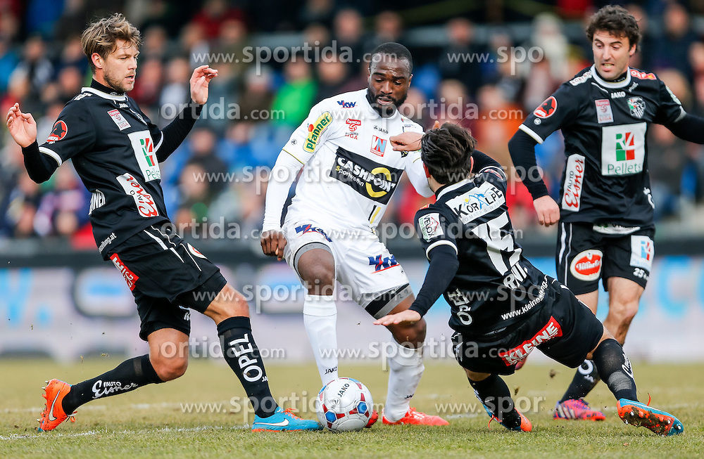 28.02.2015, Cashpoint Arena, Altach, AUT, 1. FBL, SCR Altach vs RZ Pellets WAC, 22. Runde, im Bild v.l. Boris Huettenbrenner, (RZ Pellets WAC, #16), Louis Clement Ngwat Mahop, (SCR Altach, #29) and Nemanja Rnic, (RZ Pellets WAC, #15)// during Austrian Football Bundesliga Match, 22th round, between SCR Altach vs RZ Pellets WAC at the Cashpoint Arena, Altach, Austria on 2015/02/28. EXPA Pictures © 2015, PhotoCredit: EXPA/ Peter Rinderer