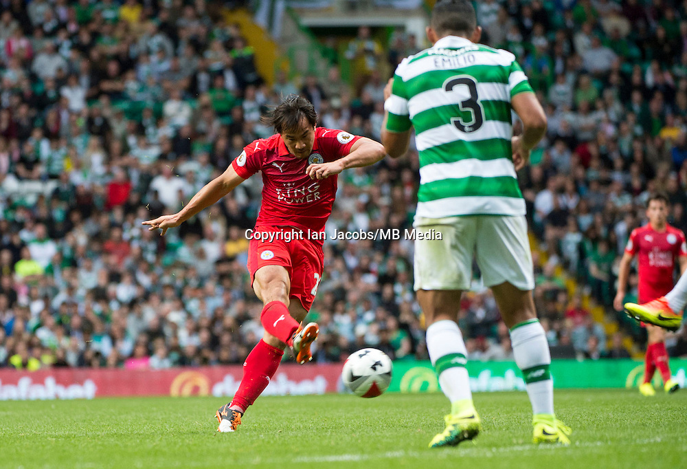 Football, International Champions Cup, Parkhead Stadium, Glasgow. Celtic v Leicester City. Leicester win 6-5 on penalties<br /> Pic shows: Leicester substitute, Shinji Okazaki, tries his luck.