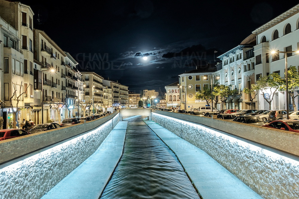 Queiles riverside and Nightscape of Tarazona city. Aragón, Spain
