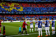 Real Sociedad players making a corridor for 08 Andres Iniesta from Spain of FC Barcelona during the Spanish championship La Liga football match between FC Barcelona and Real Sociedad on May 20, 2018 at Camp Nou stadium in Barcelona, Spain - Photo Xavier Bonilla / Spain ProSportsImages / DPPI / ProSportsImages / DPPI