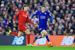 LIVERPOOL, ENGLAND - Boxing Day, Saturday, December 26, 2015: Liverpool's Adam Lallana and Leicester City's Jamie Vardy during the Premier League match at Anfield. (Pic by David Rawcliffe/Propaganda)