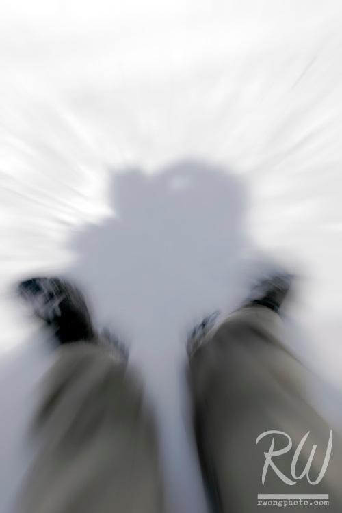 Adventure Photographer's Sledding Fast on Winter Snow, San Gabriel Mountains, California