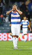 Grant Hall (QPR defender) at the final whistle after losing to Carlisle United during the Capital One Cup match between Queens Park Rangers and Carlisle United at the Loftus Road Stadium, London, England on 25 August 2015. Photo by Matthew Redman.