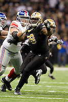28 November 2011: Defensive tackle (98) Sedrick Ellis of the New Orleans Saints rushes the quarterback against the New York Giants during the first half of the Saints 49-24 victory over the Giants at the Mercedes-Benz Superdome in New Orleans, LA.