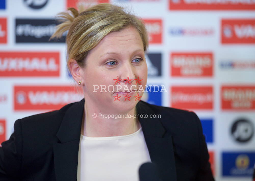 CARDIFF, WALES - Thursday, February 19, 2015: Wales women's team manager Jayne Ludlow during a press conference to name her squad for the 2015 Istria Cup at the FAW HQ in Cardiff. (Pic by Carl Robertson/Propaganda)