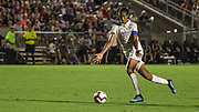 Olympique Lyonnais defender Wendie Renard (3) kicks the ball upfield in the final game against the North Carolina Courage during an International Champions Cup women's soccer game, Sunday, Aug. 18, 2019, in Cary, Olympique Lyonnais bested the North Carolina Courage 1-0 in the finals.  (Brian Villanueva/Image of Sport)