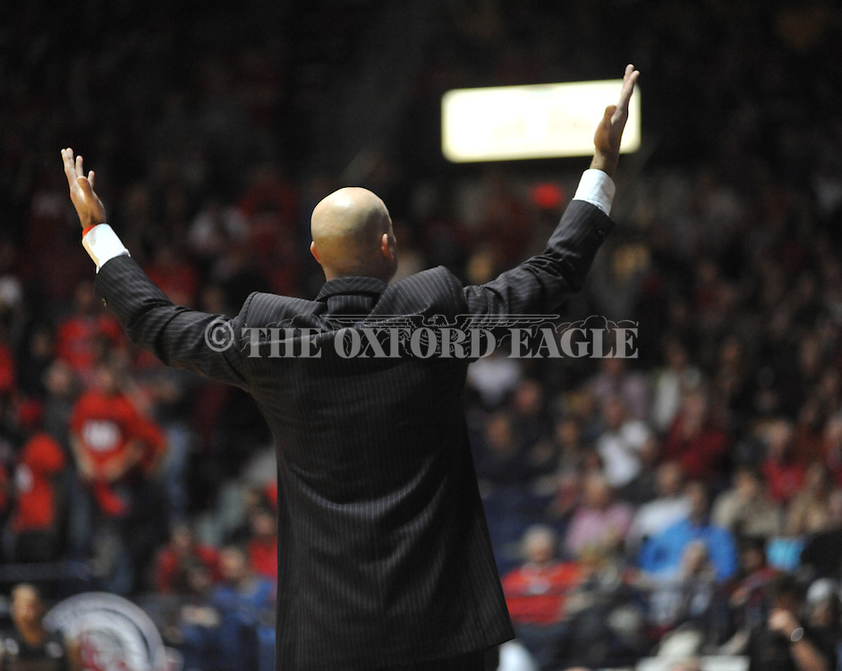 "Ole Miss head coach Andy Kennedy implores fans to cheer vs. Missouri at the C.M. ""Tad"" Smith Coliseum on Saturday, January 12, 2013. Ole Miss defeated #10 ranked Missouri 64-49."
