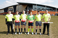 Match officials from the European Legion v AFL AIS Academy match during the AFL Europe Easter Series at Surrey Sports Park, Guildford, UK on 6th April 2013. Final score was 18-104. Photo by Andrew Tobin/Tobinators Ltd.