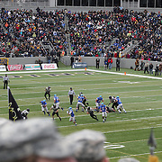 A view from the stands of action during the Army Black Knights Vs Air Force Falcons, College Football match at Michie Stadium, West Point. New York. Air Force won the game 23-6. West Point, New York, USA. 1st November 2014. Photo Tim Clayton