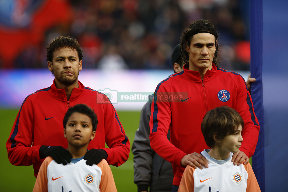 January 27, 2018 - Paris, Ile-de-France, France - Paris Saint-Germain's Brazilian forward Neymar and  Paris Saint-Germain's Uruguayan forward Edinson Cavani before the Ligue 1 match between Paris Saint Germain and Montpellier Herault SC at Parc des Princes on January 27, 2018 in Paris. (Credit Image: © Mehdi Taamallah/NurPhoto via ZUMA Press)