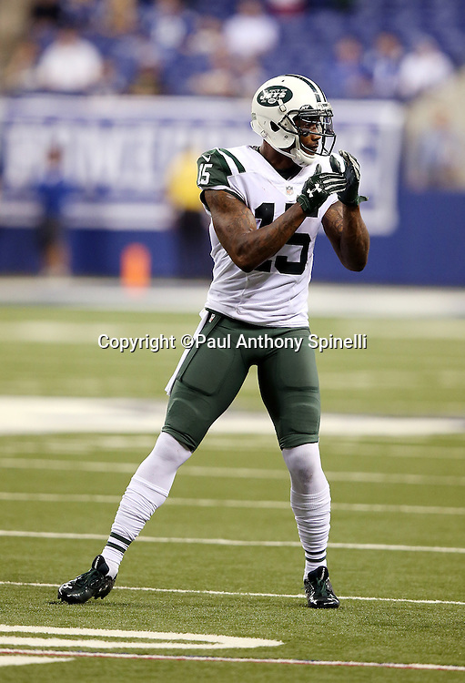 New York Jets wide receiver Brandon Marshall (15) calls time out during the 2015 NFL week 2 regular season football game against the Indianapolis Colts on Monday, Sept. 21, 2015 in Indianapolis. The Jets won the game 20-7. (©Paul Anthony Spinelli)