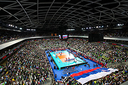 Overview of arena during national anthem before volleyball match between National teams of Slovenia and Russia in quaterfinals of 2019 CEV Volleyball Men's European Championship in Ljubljana, on September 23, 2019 in Arena Stozice. Ljubljana, Slovenia. Photo by Matic Klansek Velej / Sportida