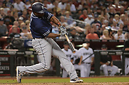 Sep 8, 2017; Phoenix, AZ, USA; San Diego Padres outfielder Jose Pirela (2) drives in two runs in the fourth inning against the Arizona Diamondbacks at Chase Field. Mandatory Credit: Jennifer Stewart-USA TODAY Sports