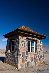Police sentry building at the gates of Manzanar National Historic Site, Independence, California