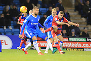 Steven Davies shoots during the EFL Sky Bet League 1 match between Gillingham and Rochdale at the MEMS Priestfield Stadium, Gillingham, England on 26 November 2016. Photo by Daniel Youngs.