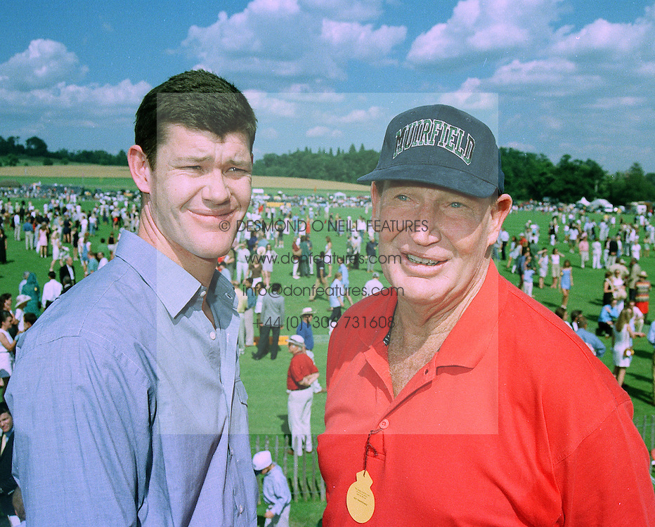 Left to right, MR JAMIE PACKER and his father MR KERRY PACKER the multi millionaire Australian media tycoon, at a polo match in Sussex on 20th July 1997.MAM 85
