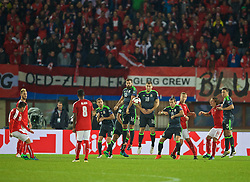 VIENNA, AUSTRIA - Thursday, October 6, 2016: Wales' Andy King, Joe Ledley, Sam Vokes, Gareth Bale and James Chester prepare to defend an Austria free-kick during the 2018 FIFA World Cup Qualifying Group D match at the Ernst-Happel-Stadion. (Pic by David Rawcliffe/Propaganda)