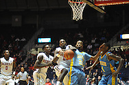 "Ole Miss' center Dwight Coleby (23) vs. southern University Jaguars guard LaQuentin Collins (23) at the C.M. ""Tad"" Smith Coliseum in Oxford, Miss. on Thursday, November 20, 2014. (AP Photo/Oxford Eagle, Bruce Newman)"